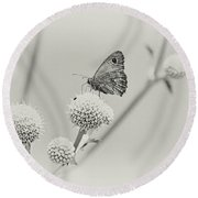 Perched Butterfly No. 255-2 Round Beach Towel