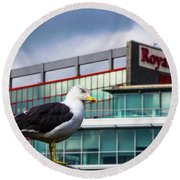 Perched Gull Round Beach Towel