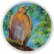 Perched Hawk Round Beach Towel by AnnaJo Vahle