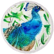 Perched Peacock I Round Beach Towel