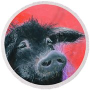 Percival The Black Pig Round Beach Towel