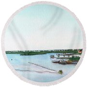 Round Beach Towel featuring the painting Perdido Key Bay by Betsy Hackett