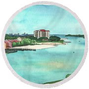 Round Beach Towel featuring the painting Perdido Key River by Betsy Hackett