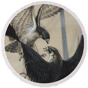Peregrine Falcon And Kestrel Round Beach Towel