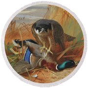 Peregrine Falcon And Mallard Duck On A Sandbank Round Beach Towel