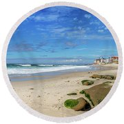 Round Beach Towel featuring the photograph Perfect Day At Horseshoe Beach by Peter Tellone