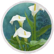 Round Beach Towel featuring the painting Perfection - Calla Lily Trio by Audrey Jeanne Roberts