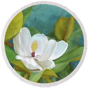 Round Beach Towel featuring the painting Perfection - Magnolia Blossom Floral by Audrey Jeanne Roberts