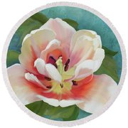 Round Beach Towel featuring the painting Perfection - Single Tulip Blossom by Audrey Jeanne Roberts