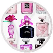 Perfume Set Black And Pink Round Beach Towel