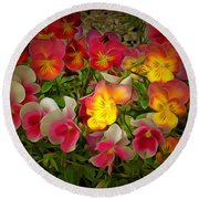 Radiance Pansies Round Beach Towel