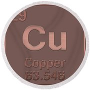 Periodic Table Of Elements - Copper - Cu - Copper On Copper Round Beach Towel