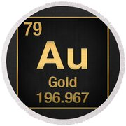Periodic Table Of Elements - Gold - Au - Gold On Black Round Beach Towel