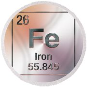 Periodic Table Of Elements - Iron Fe Round Beach Towel