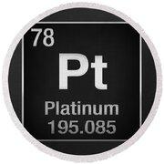 Periodic Table Of Elements - Platinum - Pt - Platinum On Black Round Beach Towel