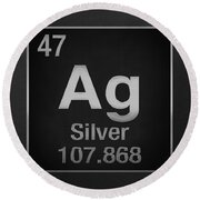Periodic Table Of Elements - Silver - Ag - Silver On Black Round Beach Towel