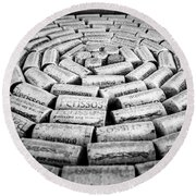 Round Beach Towel featuring the photograph Perissos Vineyard Wine Corks by Andy Crawford
