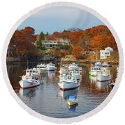 Round Beach Towel featuring the photograph Perkins Cove by Darren White