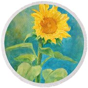 Perky Sunflower Colorful Painting Round Beach Towel