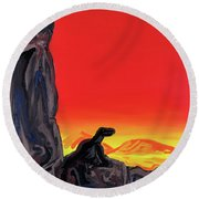 Permian Outpost Round Beach Towel