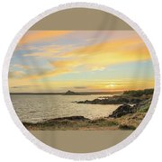 Perranuthnoe At Sunset  Round Beach Towel