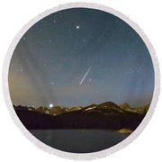 Round Beach Towel featuring the photograph Perseid Meteor Shower Indian Peaks by James BO Insogna
