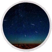 Perseid Meteor Shower Round Beach Towel