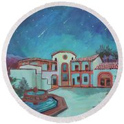 Round Beach Towel featuring the painting Perseids Meteor Shower From La Quinta Museum by Diane McClary