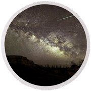 Perseids Milky Way Round Beach Towel