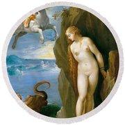 Perseus And Andromeda Round Beach Towel by Giuseppe Cesari