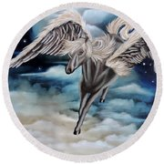 Perseus The Pegasus Round Beach Towel
