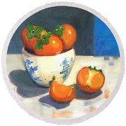 Persimmons Round Beach Towel