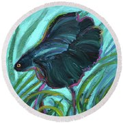 Round Beach Towel featuring the painting Persistent Fish Betta  by Robert Phelps