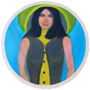 Round Beach Towel featuring the painting Personas  by Lorna Maza