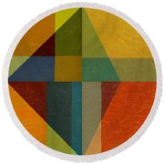 Perspective In Color Collage Round Beach Towel