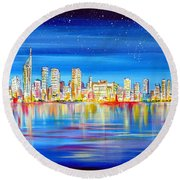 Perth Skyline On The Swan Round Beach Towel