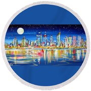 Perth Under The Full Moon Round Beach Towel