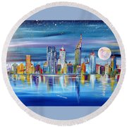 Perth Western Australia Under The Full Moon Round Beach Towel