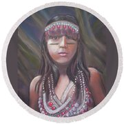 Round Beach Towel featuring the pastel Peruvian Girl by Julie Brugh Riffey