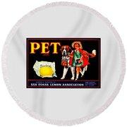 Round Beach Towel featuring the painting Pet Saint Bernard 1920s California Sunkist Lemons by Peter Gumaer Ogden