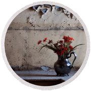 Petals And Peeling Paint - Preston Castle Round Beach Towel