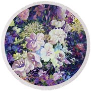 Round Beach Towel featuring the painting Petals by Joanne Smoley