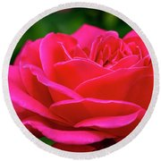 Petals Of A Bright Pink Rose Round Beach Towel by Teri Virbickis