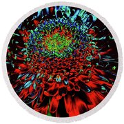 Petals Of Fire And Ice Round Beach Towel