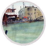 Petaluma Turning Basin Round Beach Towel