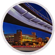 Petco Park And The Harbor Drive Pedestrian Bridge In Downtown San Diego  Round Beach Towel by Sam Antonio Photography