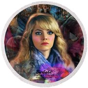 Round Beach Towel featuring the digital art Peter Parker's Haunting Memories Of Gwen Stacy by Barbara Tristan