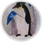 Peter Penquin At The Game Round Beach Towel