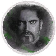Round Beach Towel featuring the drawing Peter Steele, Type O Negative by Julia Art