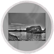 Round Beach Towel featuring the pyrography Peterburg Canal by Yury Bashkin